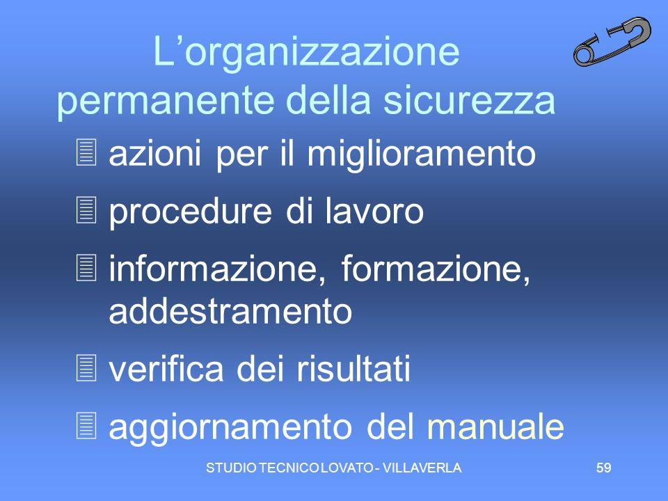 STUDIO TECNICO LOVATO - VILLAVERLA59 Lorganizzazione permanente della sicurezza 3azioni per il miglioramento 3procedure di lavoro 3informazione, forma