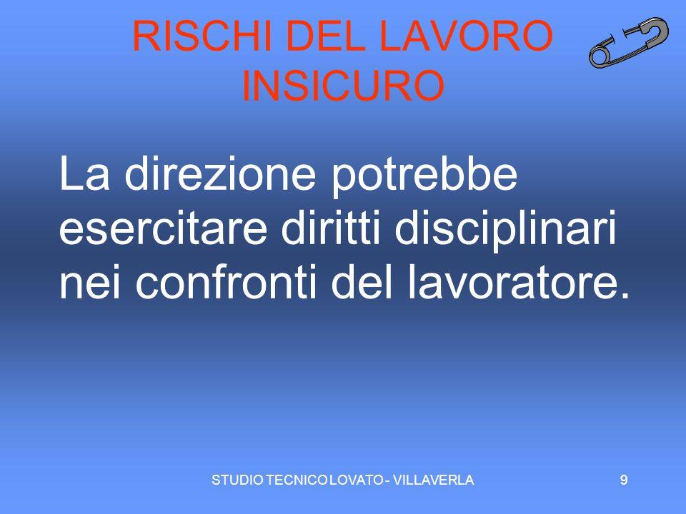 STUDIO TECNICO LOVATO - VILLAVERLA9 RISCHI DEL LAVORO INSICURO La direzione potrebbe esercitare diritti disciplinari nei confronti del lavoratore.