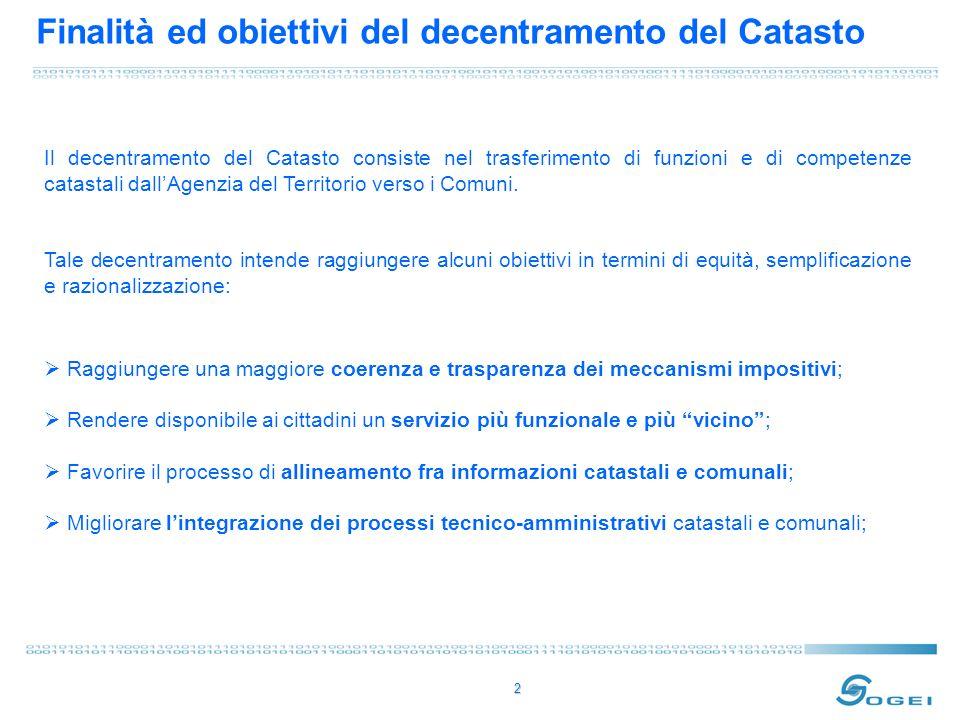 2 Finalità ed obiettivi del decentramento del Catasto Il decentramento del Catasto consiste nel trasferimento di funzioni e di competenze catastali dallAgenzia del Territorio verso i Comuni.