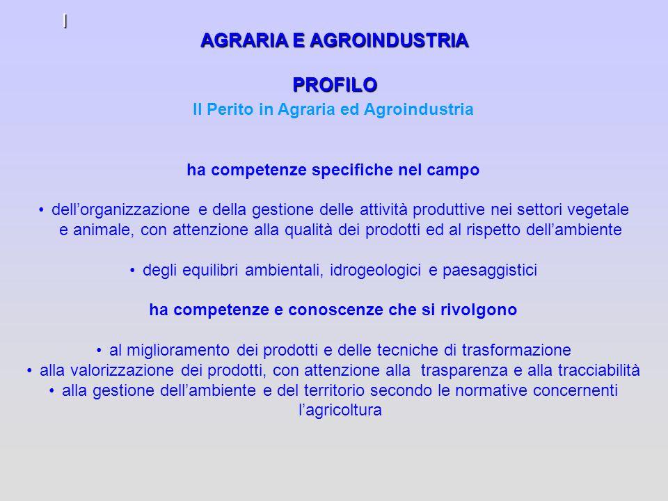 AGRARIA E AGROINDUSTRIA PROFILO I Il Perito in Agraria ed Agroindustria ha competenze specifiche nel campo dellorganizzazione e della gestione delle a