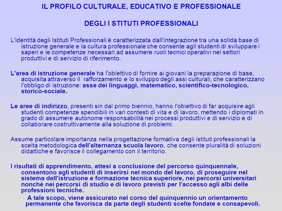 IL PROFILO CULTURALE, EDUCATIVO E PROFESSIONALE DEGLI I STITUTI PROFESSIONALI L'identità degli Istituti Professionali è caratterizzata dall'integrazio