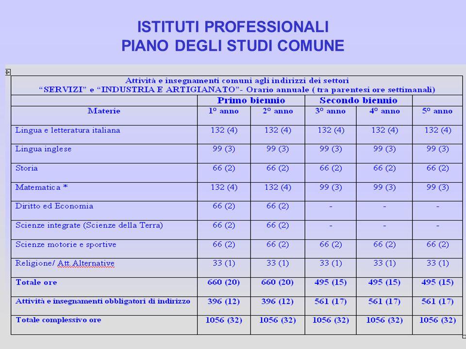 ISTITUTI PROFESSIONALI PIANO DEGLI STUDI COMUNE