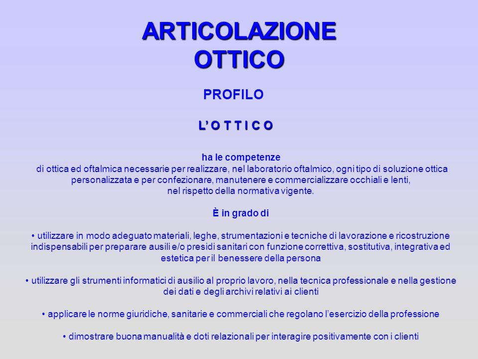ARTICOLAZIONE OTTICO PROFILO L O T T I C O ha le competenze di ottica ed oftalmica necessarie per realizzare, nel laboratorio oftalmico, ogni tipo di