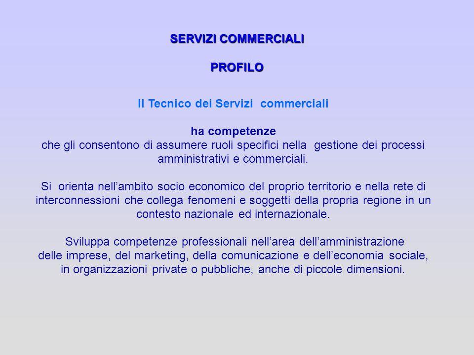 SERVIZI COMMERCIALI PROFILO Il Tecnico dei Servizi commerciali ha competenze che gli consentono di assumere ruoli specifici nella gestione dei process