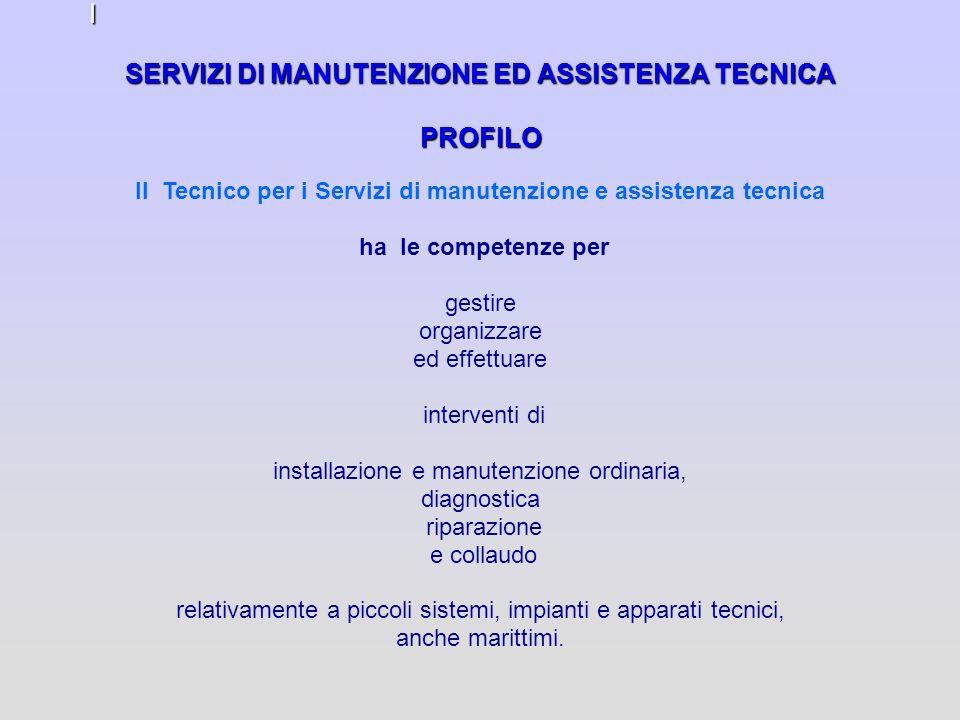 SERVIZI DI MANUTENZIONE ED ASSISTENZA TECNICA PROFILO I Il Tecnico per i Servizi di manutenzione e assistenza tecnica ha le competenze per gestire org