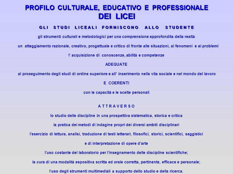 PROFILO CULTURALE, EDUCATIVO E PROFESSIONALE DEI LICEI G L I S T U D I L I C E A L I F O R N I S C O N O A L L O S T U D E N T E gli strumenti cultura