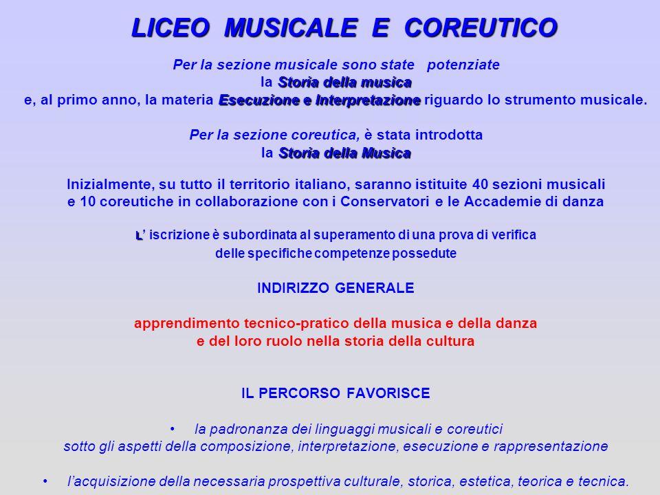 LICEO MUSICALE E COREUTICO Per la sezione musicale sono state potenziate Storia della musica la Storia della musica Esecuzione e Interpretazione e, al