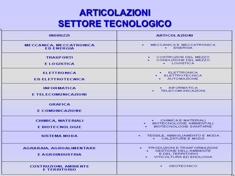 ARTICOLAZIONI SETTORE TECNOLOGICO