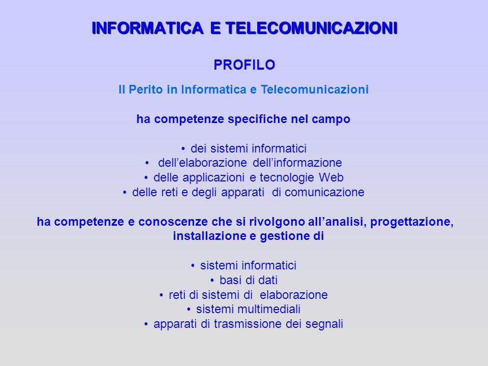 INFORMATICA E TELECOMUNICAZIONI INFORMATICA E TELECOMUNICAZIONI PROFILO Il Perito in Informatica e Telecomunicazioni ha competenze specifiche nel camp