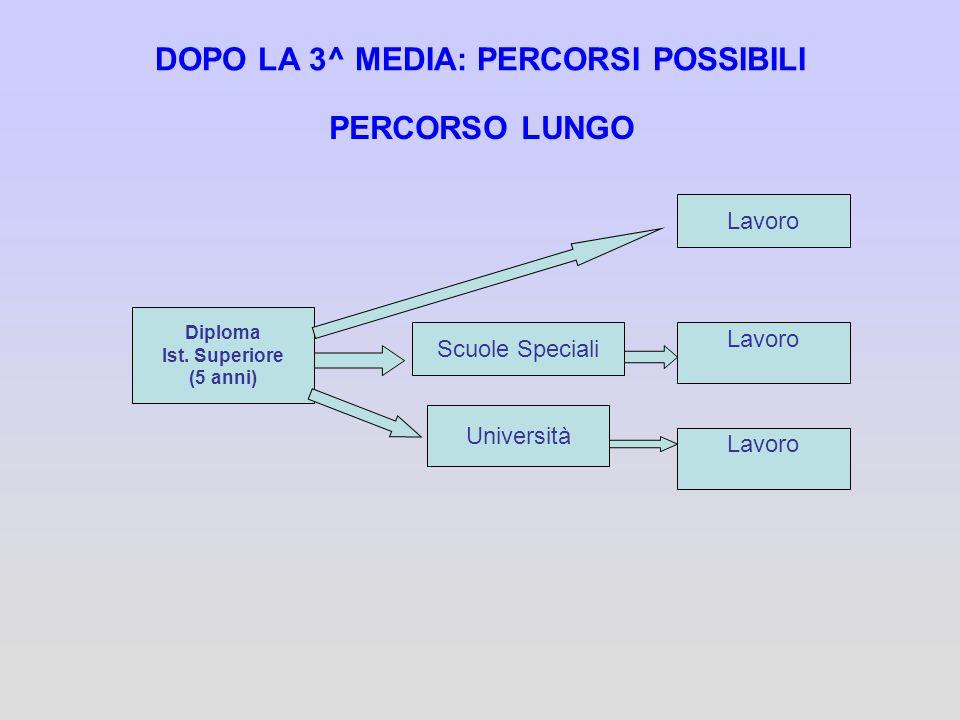 DOPO LA 3^ MEDIA: PERCORSI POSSIBILI PERCORSO LUNGO Diploma Ist. Superiore (5 anni) Scuole Speciali Università Lavoro