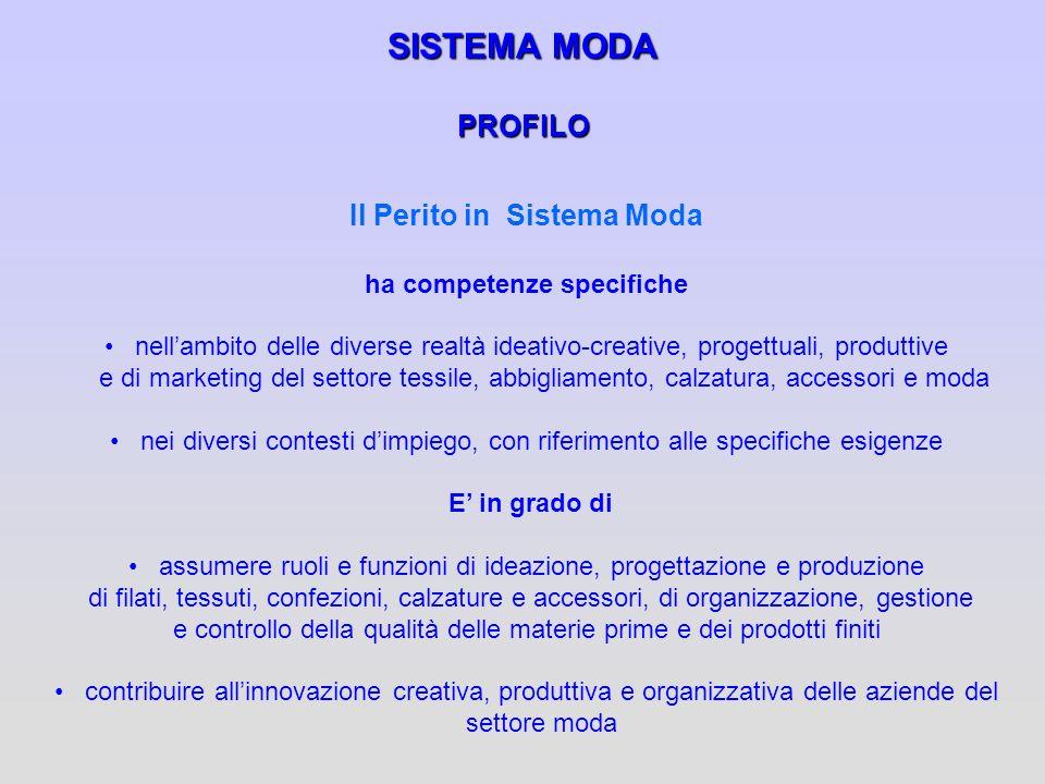 SISTEMA MODA PROFILO Il Perito in Sistema Moda ha competenze specifiche nellambito delle diverse realtà ideativo-creative, progettuali, produttive e d