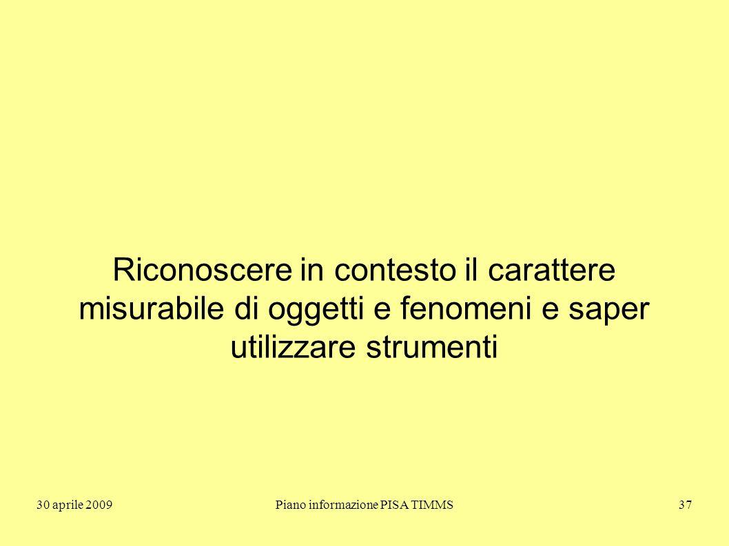 30 aprile 2009Piano informazione PISA TIMMS37 Riconoscere in contesto il carattere misurabile di oggetti e fenomeni e saper utilizzare strumenti