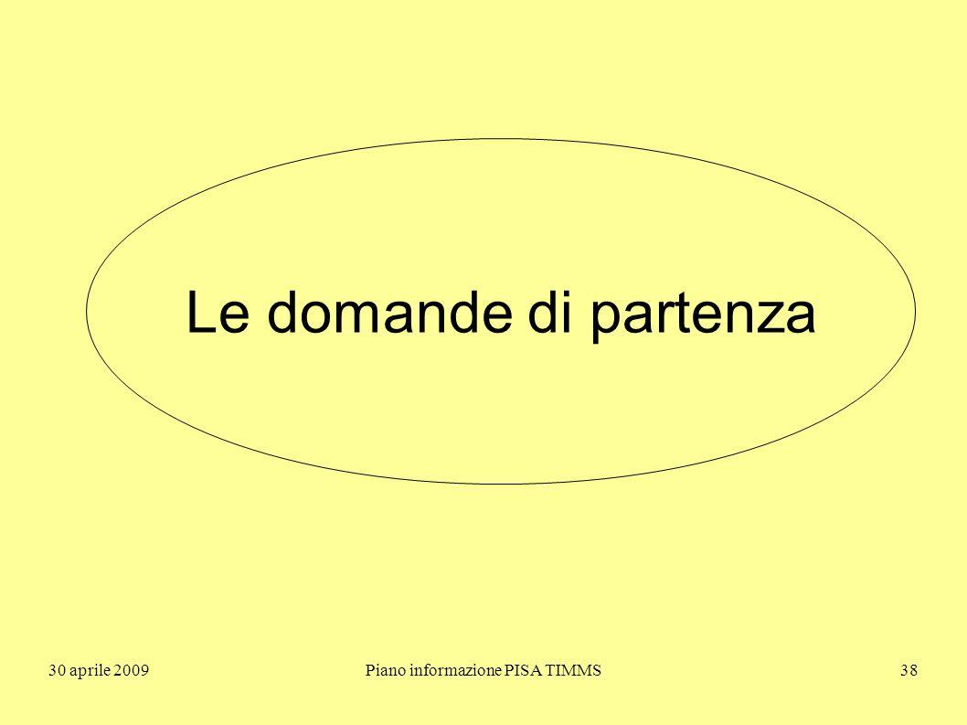 30 aprile 2009Piano informazione PISA TIMMS38 Le domande di partenza