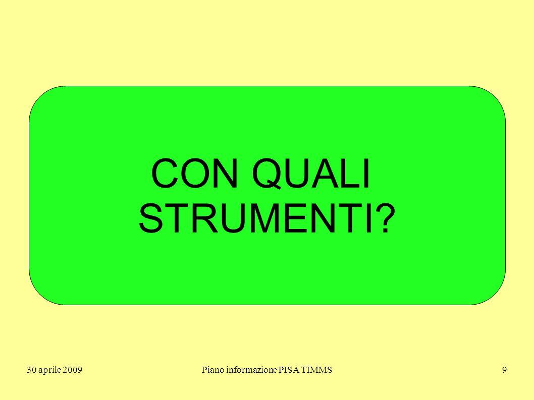 30 aprile 2009Piano informazione PISA TIMMS10 UN QUADRO DI RIFERIMENTO È FRUTTO DI SCELTE NON È MAI NEUTRO!....