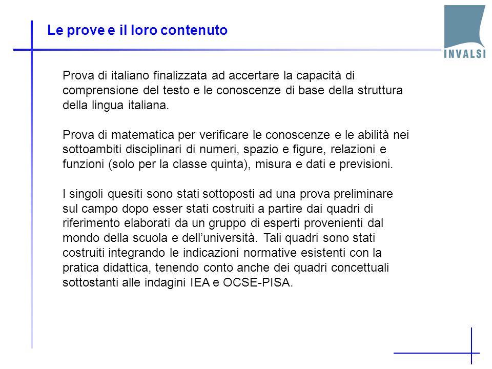 Le prove e il loro contenuto Prova di italiano finalizzata ad accertare la capacità di comprensione del testo e le conoscenze di base della struttura