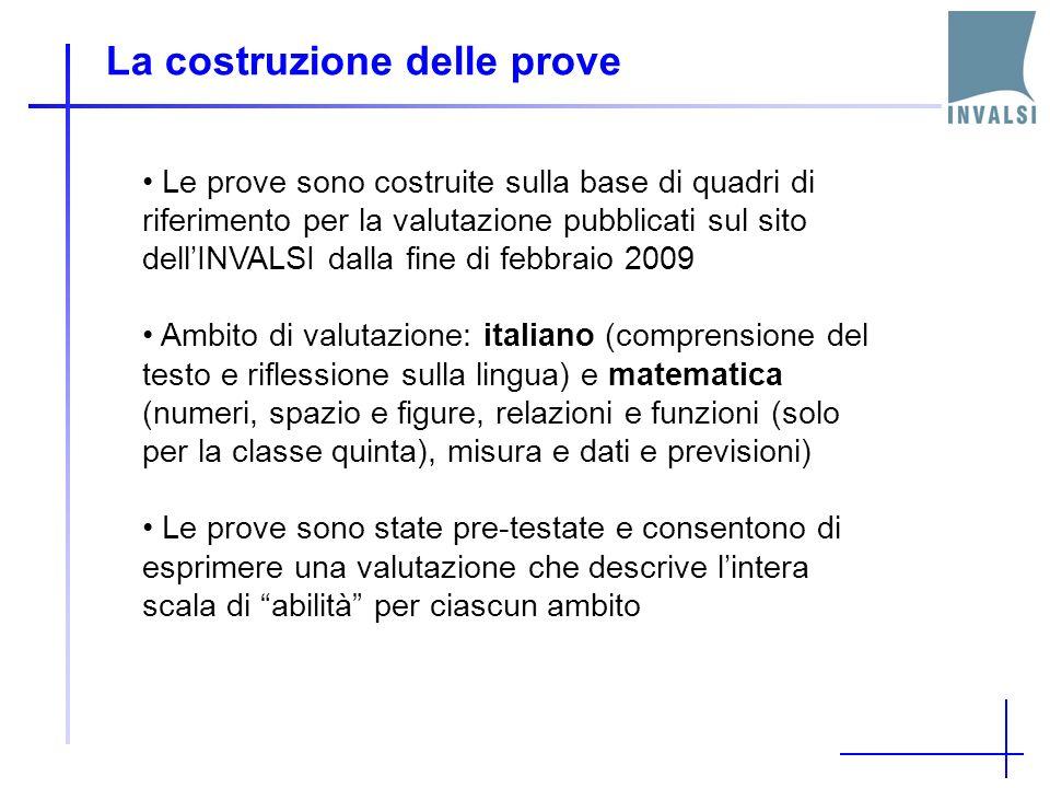 La costruzione delle prove Le prove sono costruite sulla base di quadri di riferimento per la valutazione pubblicati sul sito dellINVALSI dalla fine d