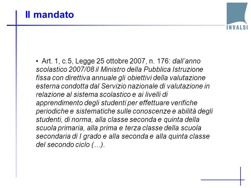Il mandato Direttive 74 e 75 del 15/09/2008: La direttiva n.75 chiede allINVALSI di provvedere (…) alla valutazione degli apprendimenti tenendo conto delle soluzioni e degli strumenti adottati per rilevare il valore aggiunto da ogni singola scuola in termini di accrescimento dei livelli di apprendimento degli alunni.