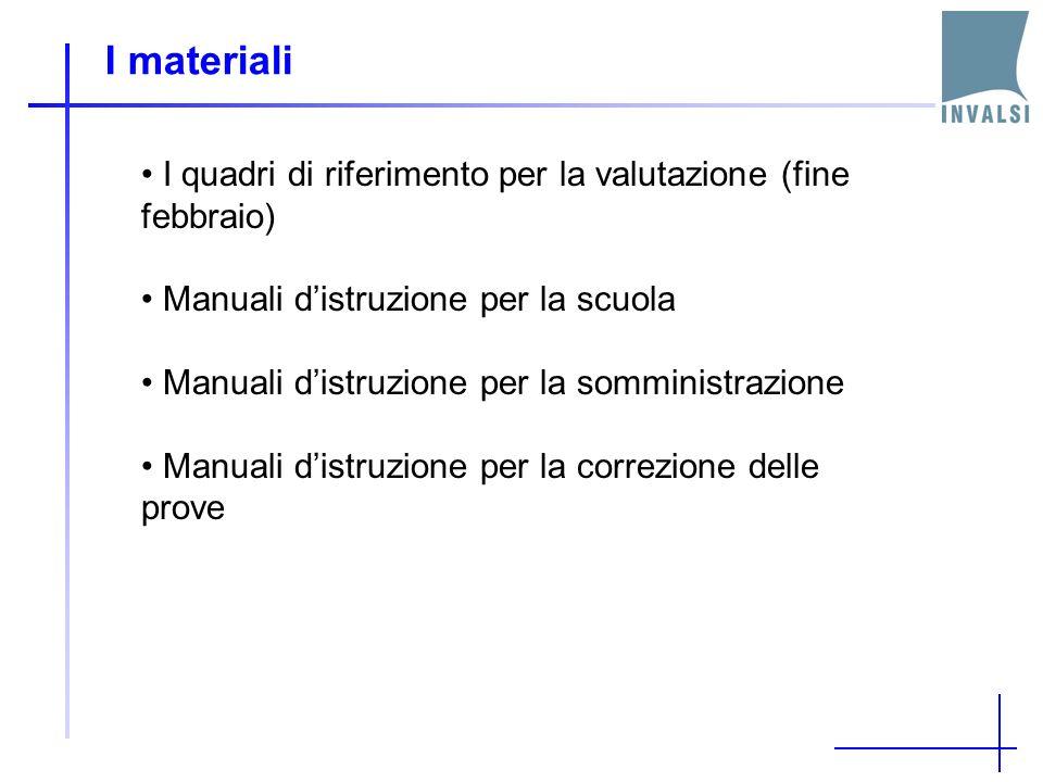 I materiali I quadri di riferimento per la valutazione (fine febbraio) Manuali distruzione per la scuola Manuali distruzione per la somministrazione M