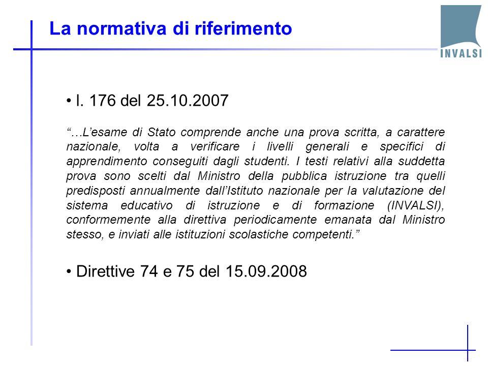 La normativa di riferimento l. 176 del 25.10.2007 …Lesame di Stato comprende anche una prova scritta, a carattere nazionale, volta a verificare i live