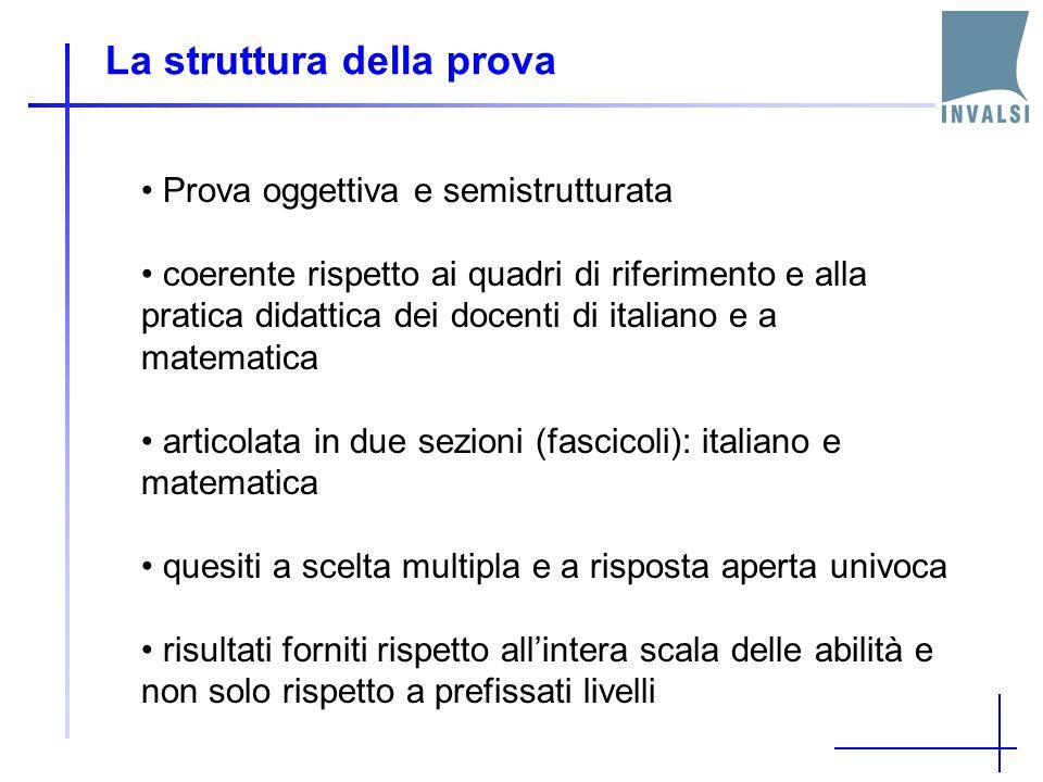 La struttura della prova Prova oggettiva e semistrutturata coerente rispetto ai quadri di riferimento e alla pratica didattica dei docenti di italiano