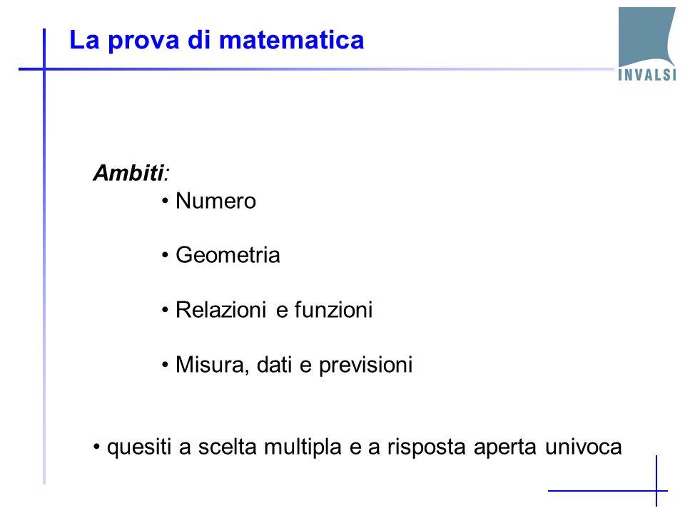 La prova di matematica Ambiti: Numero Geometria Relazioni e funzioni Misura, dati e previsioni quesiti a scelta multipla e a risposta aperta univoca