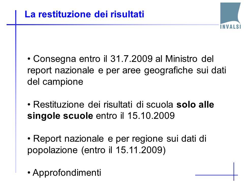 La restituzione dei risultati Consegna entro il 31.7.2009 al Ministro del report nazionale e per aree geografiche sui dati del campione Restituzione d