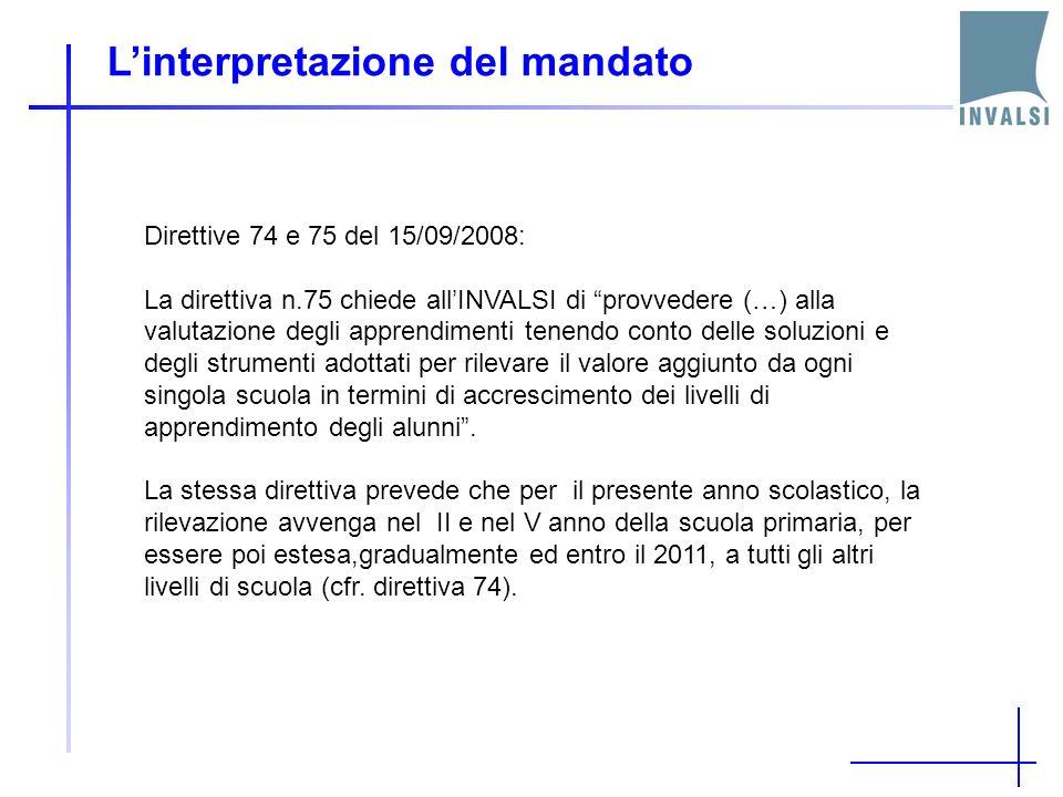 Linterpretazione del mandato Direttive 74 e 75 del 15/09/2008: La direttiva n.75 chiede allINVALSI di provvedere (…) alla valutazione degli apprendime