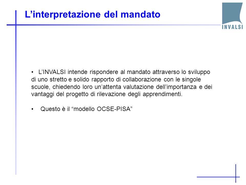 Linterpretazione del mandato LINVALSI intende rispondere al mandato attraverso lo sviluppo di uno stretto e solido rapporto di collaborazione con le s