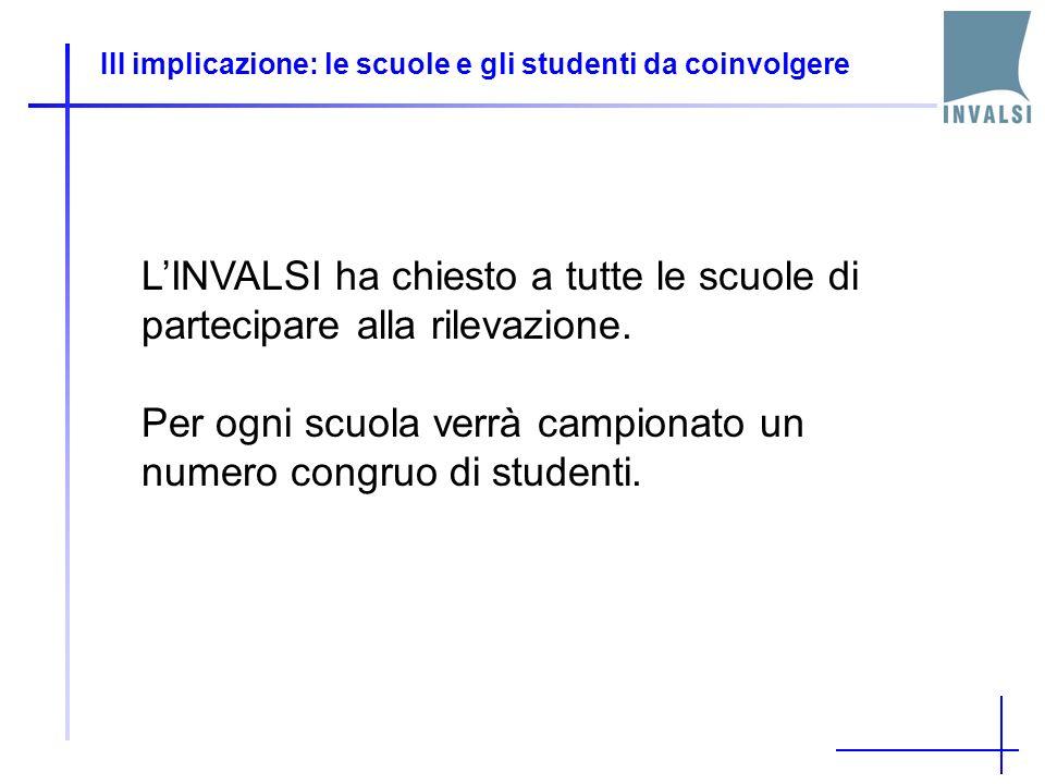 III implicazione: le scuole e gli studenti da coinvolgere LINVALSI ha chiesto a tutte le scuole di partecipare alla rilevazione. Per ogni scuola verrà
