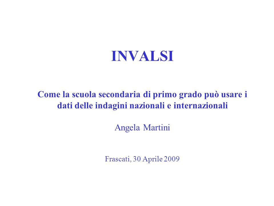 INVALSI Come la scuola secondaria di primo grado può usare i dati delle indagini nazionali e internazionali Angela Martini Frascati, 30 Aprile 2009