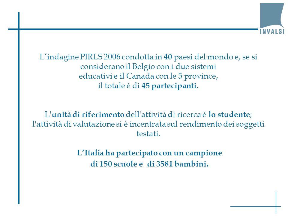 Lindagine PIRLS 2006 condotta in 40 paesi del mondo e, se si considerano il Belgio con i due sistemi educativi e il Canada con le 5 province, il total