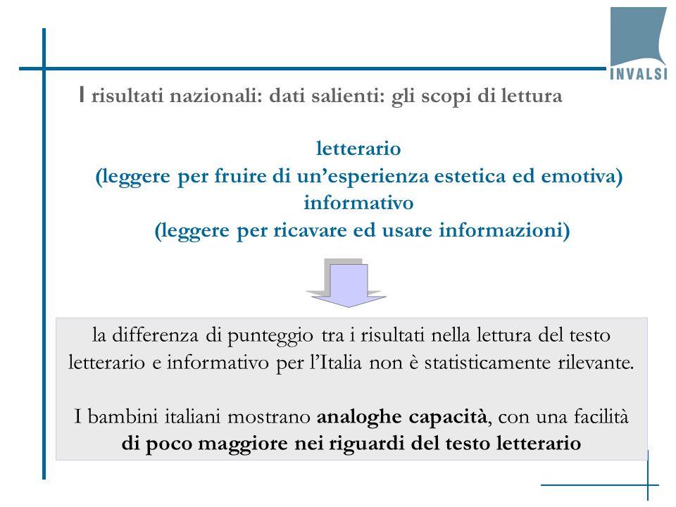 I risultati nazionali: dati salienti: gli scopi di lettura letterario (leggere per fruire di unesperienza estetica ed emotiva) informativo (leggere pe