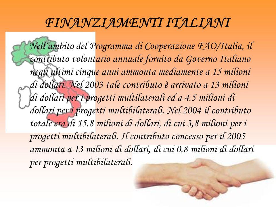 FINANZIAMENTI ITALIANI Nellambito del Programma di Cooperazione FAO/Italia, il contributo volontario annuale fornito da Governo Italiano negli ultimi cinque anni ammonta mediamente a 15 milioni di dollari.