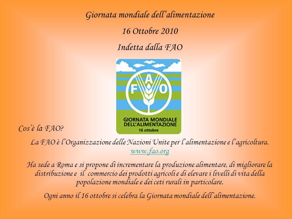 Giornata mondiale dellalimentazione 16 Ottobre 2010 Indetta dalla FAO Cosè la FAO.