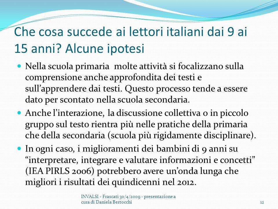 Che cosa succede ai lettori italiani dai 9 ai 15 anni.