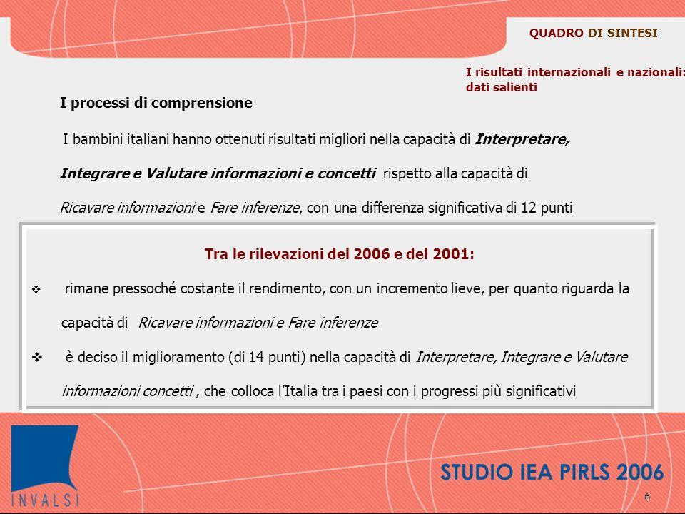 La scala di competenza di lettura in OCSE PISA Con le domande delle prove sono state costruite, attraverso le procedura matematiche appropriate, le cosiddette scale di competenza di PISA Sulle scale di lettura si sono individuati cinque livelli di difficoltà dei quesiti corrispondenti ad altrettanti livelli di capacità da parte degli studenti.