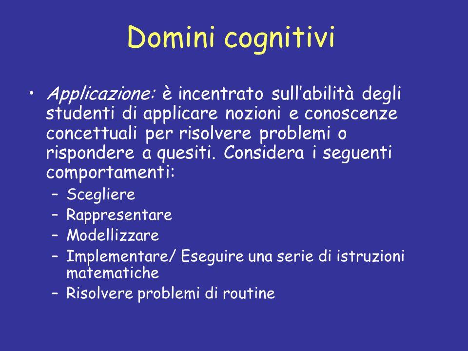 Domini cognitivi Applicazione: è incentrato sullabilità degli studenti di applicare nozioni e conoscenze concettuali per risolvere problemi o risponde