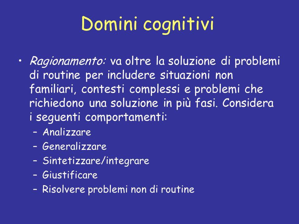 Domini cognitivi Ragionamento: va oltre la soluzione di problemi di routine per includere situazioni non familiari, contesti complessi e problemi che