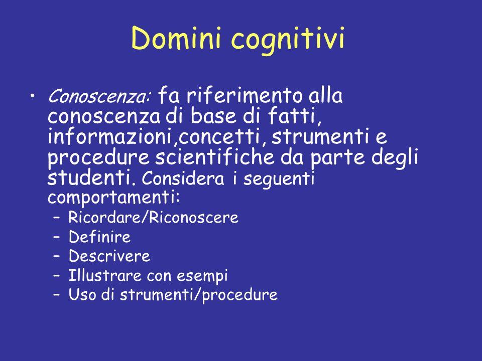 Domini cognitivi Conoscenza: fa riferimento alla conoscenza di base di fatti, informazioni,concetti, strumenti e procedure scientifiche da parte degli