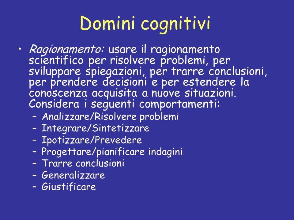 Domini cognitivi Ragionamento: usare il ragionamento scientifico per risolvere problemi, per sviluppare spiegazioni, per trarre conclusioni, per prend