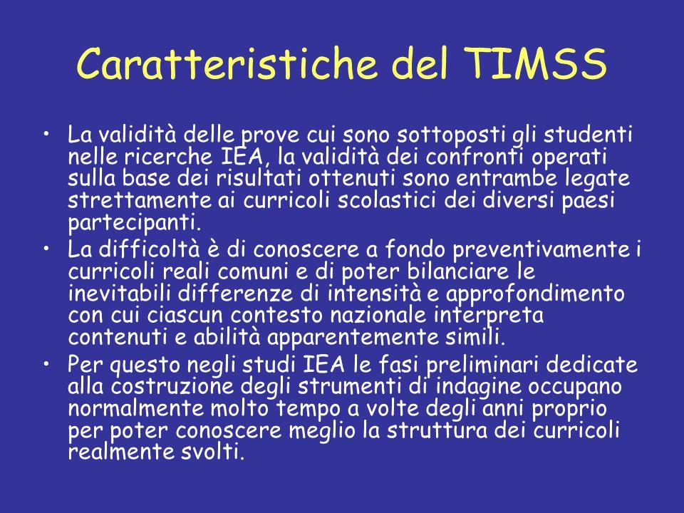 Caratteristiche del TIMSS La validità delle prove cui sono sottoposti gli studenti nelle ricerche IEA, la validità dei confronti operati sulla base de