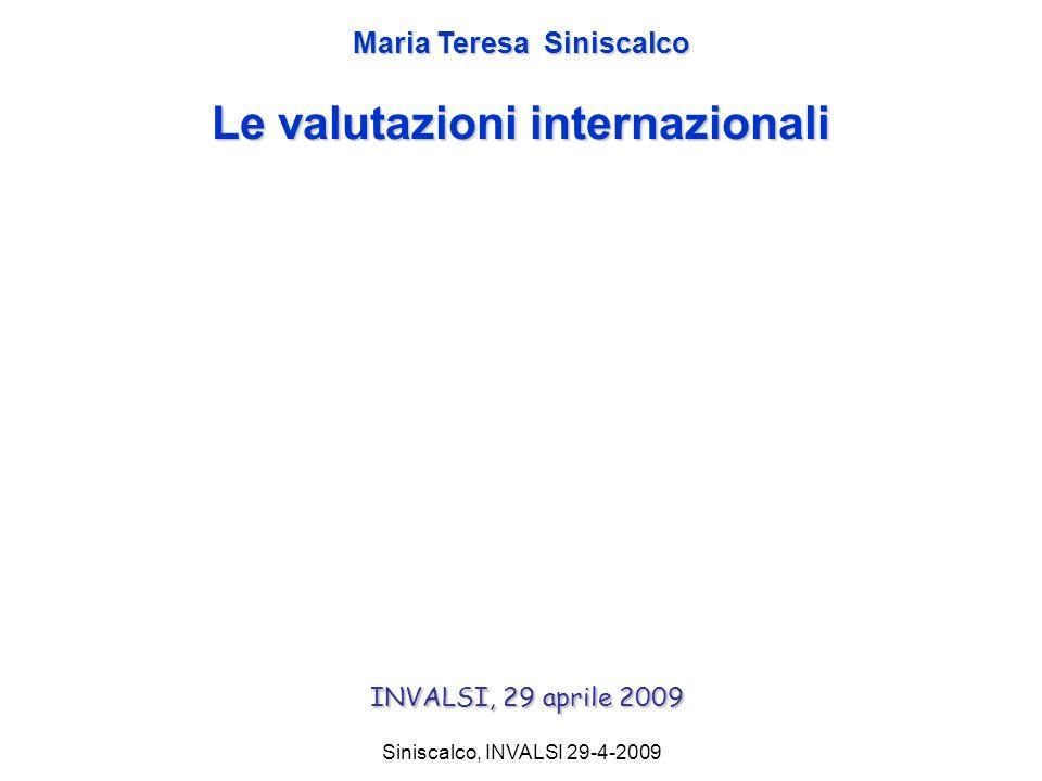 Siniscalco, INVALSI 29-4-2009 Maria Teresa Siniscalco Le valutazioni internazionali INVALSI, 29 aprile 2009