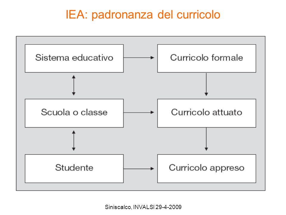 IEA: padronanza del curricolo