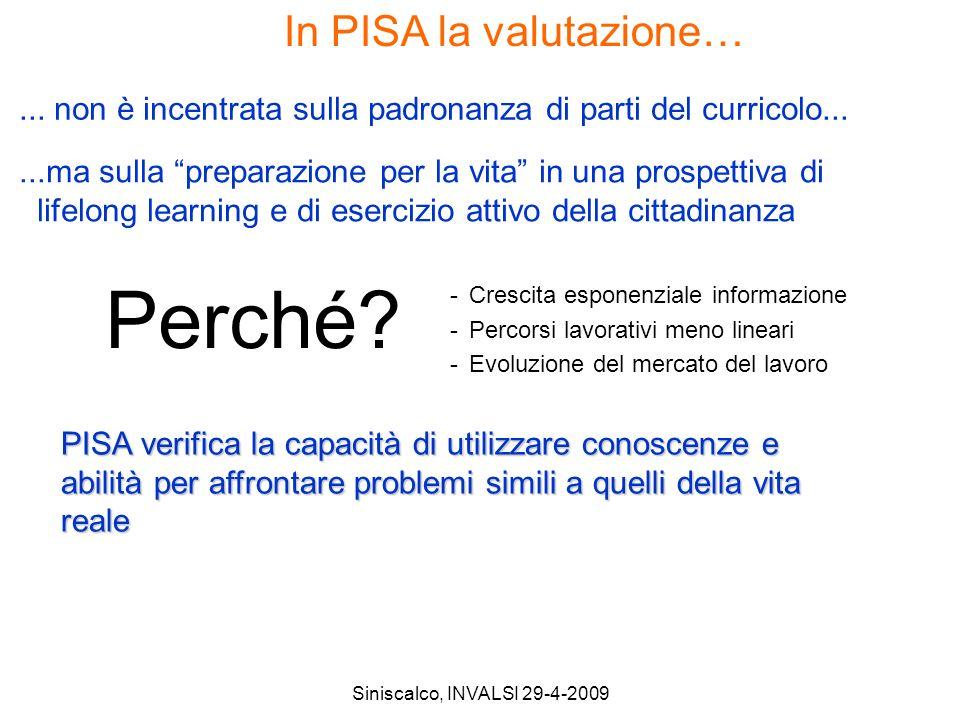 Siniscalco, INVALSI 29-4-2009 In PISA la valutazione…...ma sulla preparazione per la vita in una prospettiva di lifelong learning e di esercizio attivo della cittadinanza...