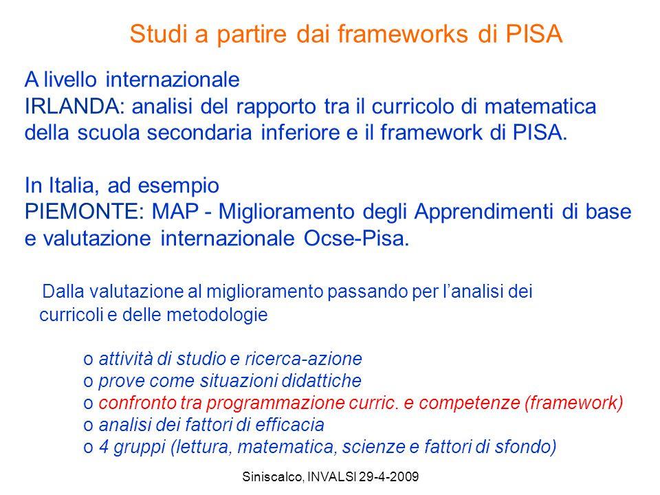 Siniscalco, INVALSI 29-4-2009 A livello internazionale IRLANDA: analisi del rapporto tra il curricolo di matematica della scuola secondaria inferiore e il framework di PISA.