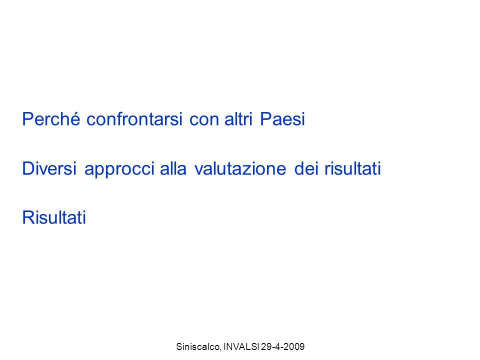 Siniscalco, INVALSI 29-4-2009 Perché confrontarsi con altri Paesi Diversi approcci alla valutazione dei risultati Risultati
