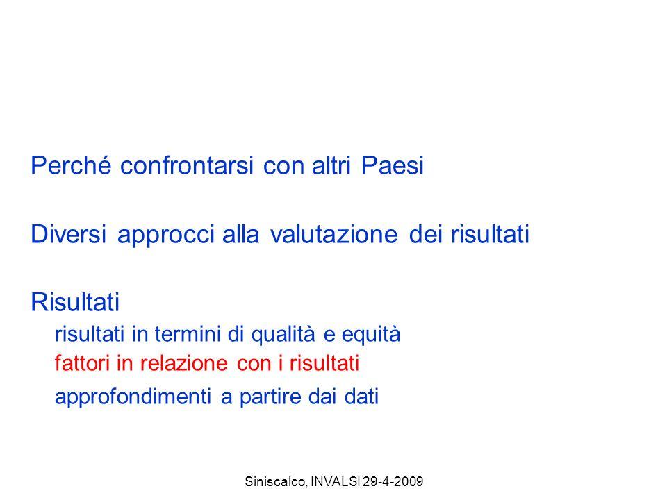 Siniscalco, INVALSI 29-4-2009 Perché confrontarsi con altri Paesi Diversi approcci alla valutazione dei risultati Risultati risultati in termini di qualità e equità fattori in relazione con i risultati approfondimenti a partire dai dati