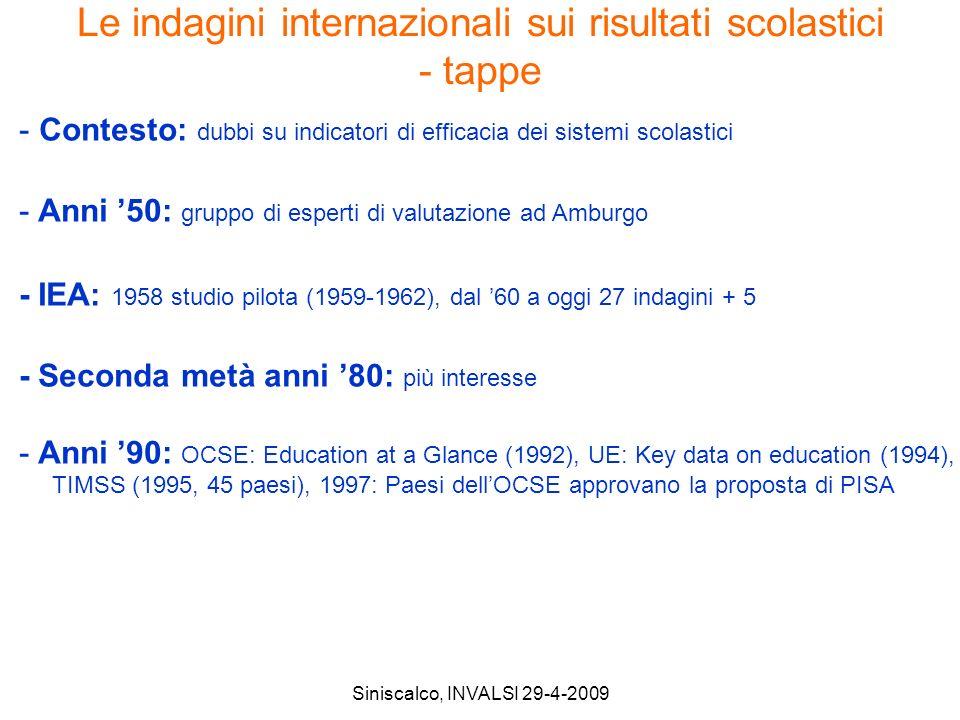 Siniscalco, INVALSI 29-4-2009 Le indagini internazionali sui risultati scolastici - tappe - Contesto: dubbi su indicatori di efficacia dei sistemi scolastici - Anni 50: gruppo di esperti di valutazione ad Amburgo - IEA: 1958 studio pilota (1959-1962), dal 60 a oggi 27 indagini + 5 - Seconda metà anni 80: più interesse - Anni 90: OCSE: Education at a Glance (1992), UE: Key data on education (1994), TIMSS (1995, 45 paesi), 1997: Paesi dellOCSE approvano la proposta di PISA
