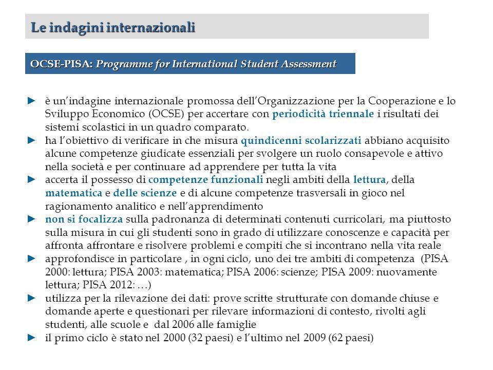 Le indagini internazionali OCSE-PISA: Programme for International Student Assessment è unindagine internazionale promossa dellOrganizzazione per la Cooperazione e lo Sviluppo Economico (OCSE) per accertare con periodicità triennale i risultati dei sistemi scolastici in un quadro comparato.