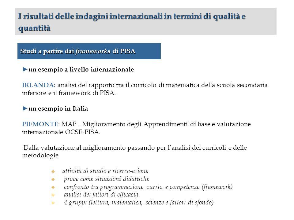 Studi a partire dai frameworks di PISA I risultati delle indagini internazionali in termini di qualità e quantità un esempio a livello internazionale IRLANDA: analisi del rapporto tra il curricolo di matematica della scuola secondaria inferiore e il framework di PISA.
